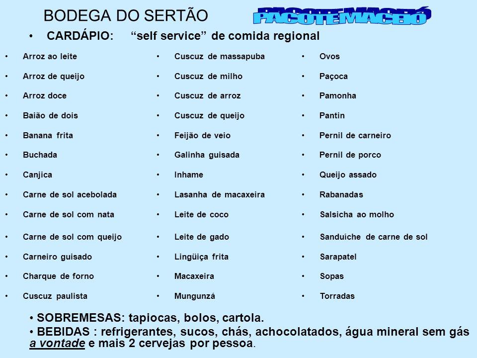 BODEGA DO SERTÃO PACOTE MACEIÓ