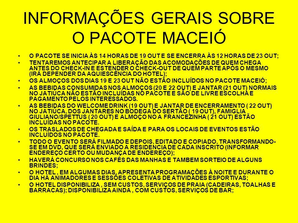 INFORMAÇÕES GERAIS SOBRE O PACOTE MACEIÓ