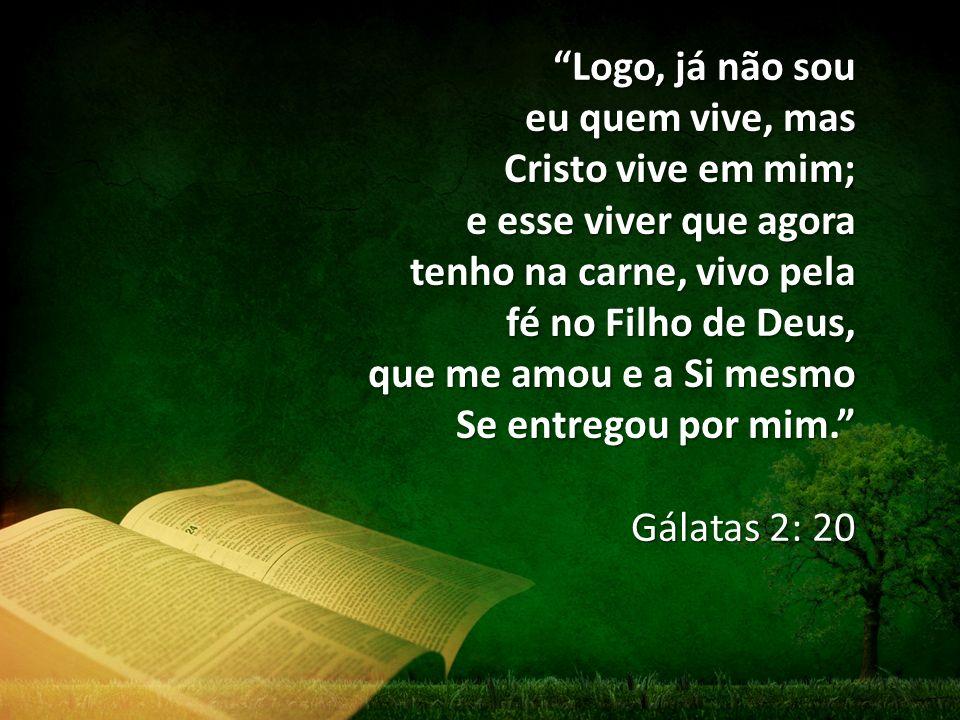 Logo, já não sou eu quem vive, mas Cristo vive em mim; e esse viver que agora tenho na carne, vivo pela fé no Filho de Deus, que me amou e a Si mesmo Se entregou por mim.