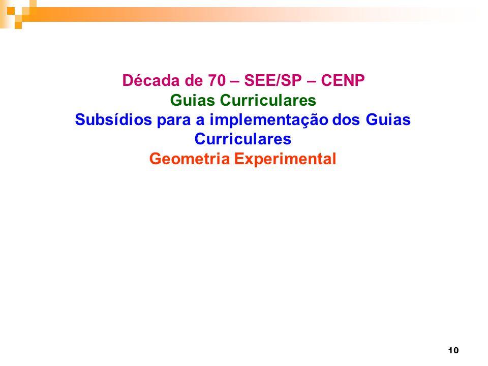 Década de 70 – SEE/SP – CENP Guias Curriculares