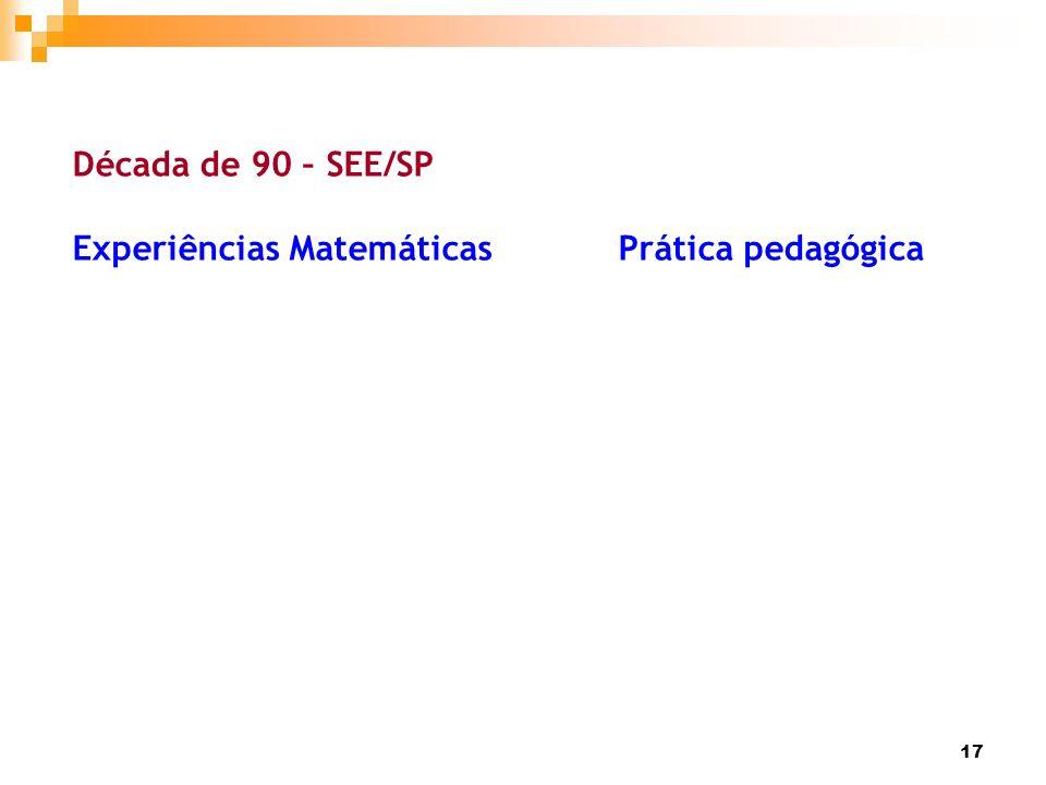 Década de 90 – SEE/SP Experiências Matemáticas Prática pedagógica