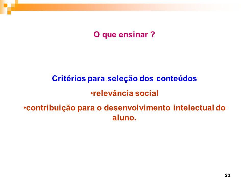 Critérios para seleção dos conteúdos relevância social