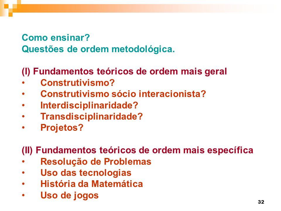 Como ensinar Questões de ordem metodológica. (I) Fundamentos teóricos de ordem mais geral. Construtivismo