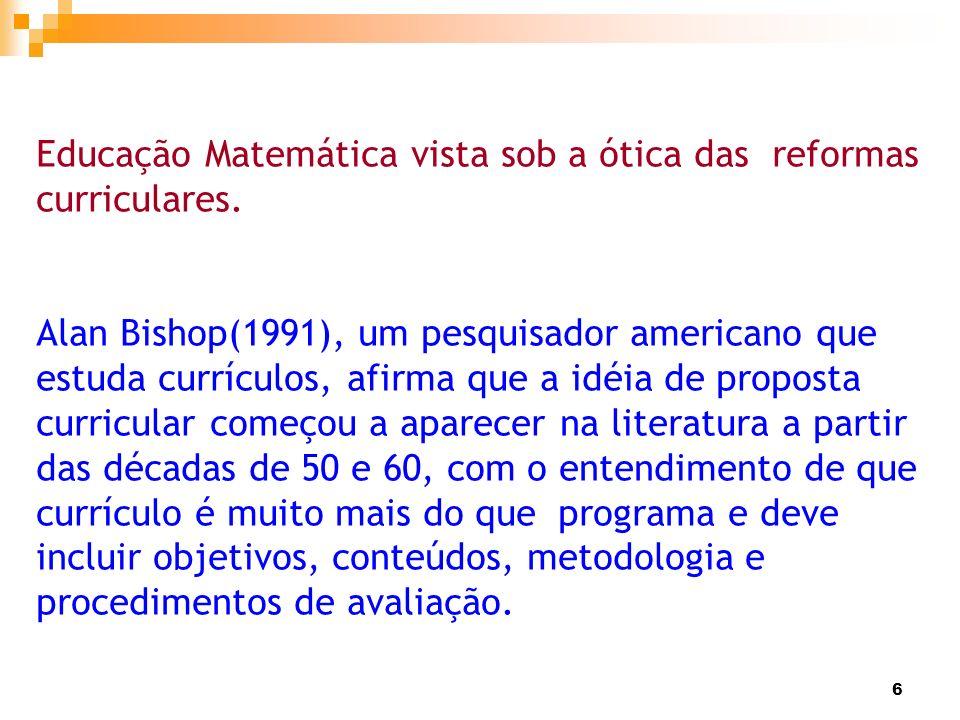 Educação Matemática vista sob a ótica das reformas curriculares.