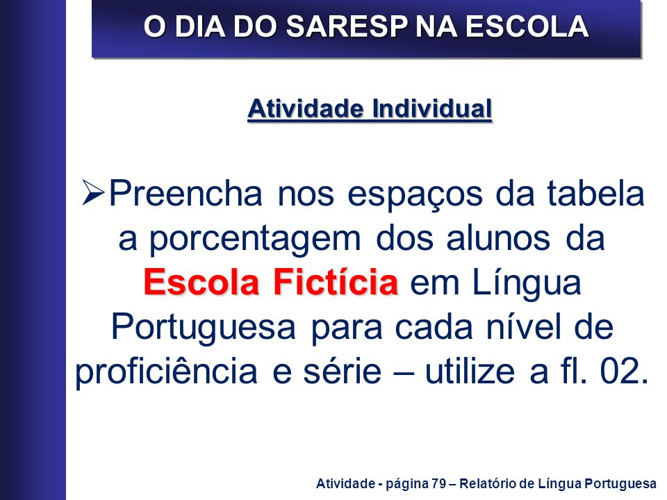 O DIA DO SARESP NA ESCOLA