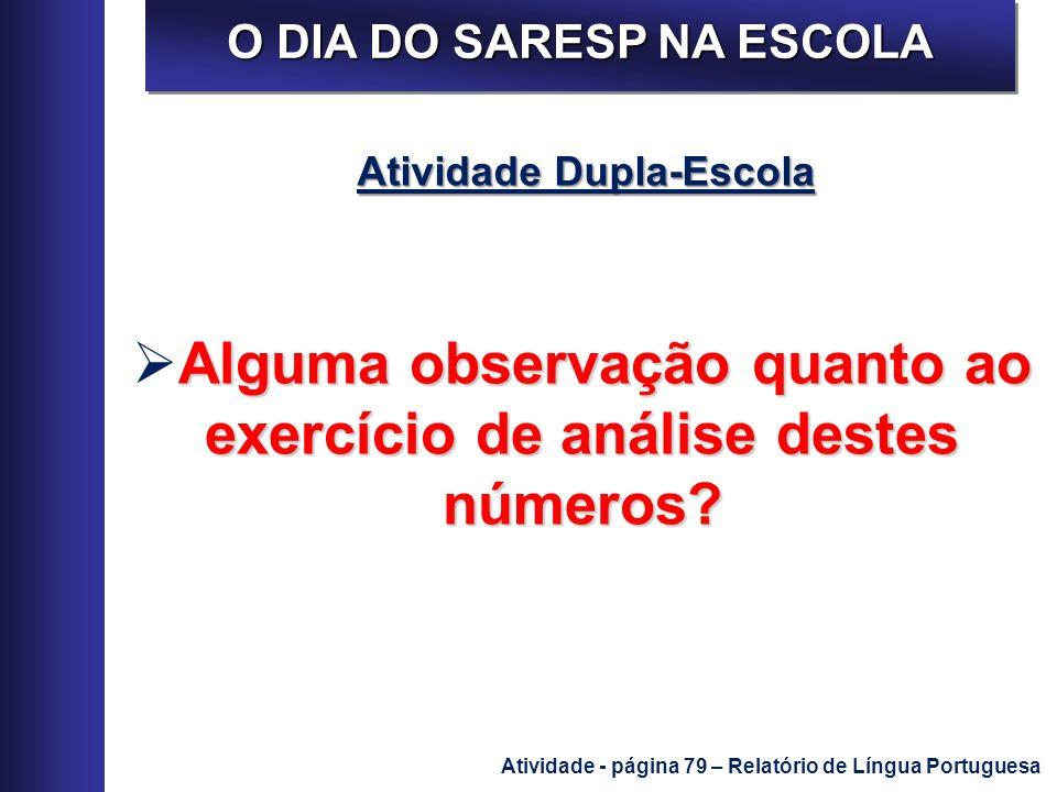 O DIA DO SARESP NA ESCOLA Atividade Dupla-Escola