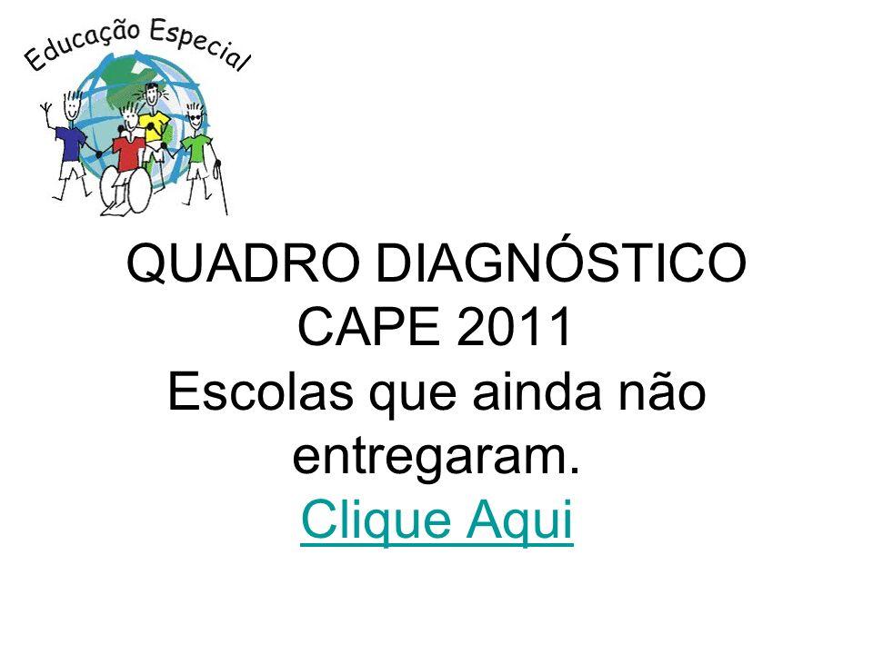 QUADRO DIAGNÓSTICO CAPE 2011 Escolas que ainda não entregaram