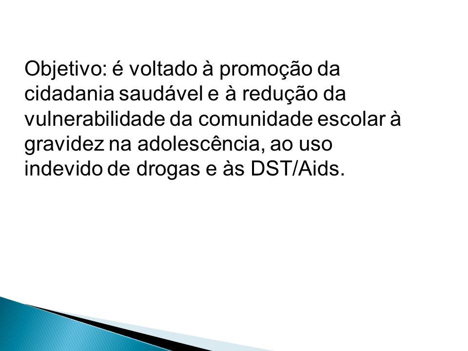 Objetivo: é voltado à promoção da cidadania saudável e à redução da vulnerabilidade da comunidade escolar à gravidez na adolescência, ao uso indevido de drogas e às DST/Aids.