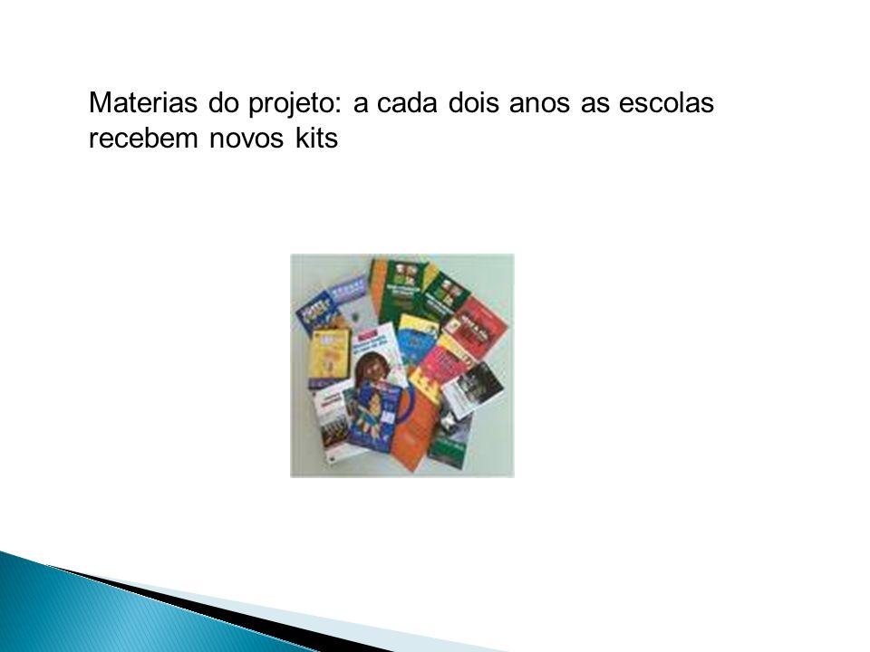 Materias do projeto: a cada dois anos as escolas recebem novos kits
