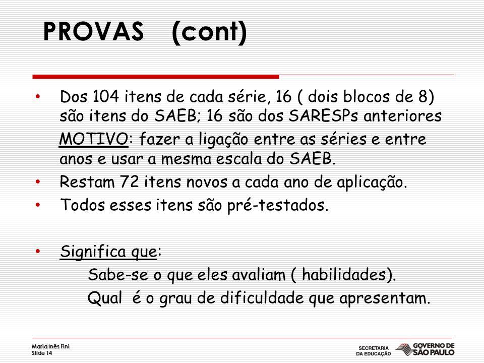 PROVAS (cont) Dos 104 itens de cada série, 16 ( dois blocos de 8) são itens do SAEB; 16 são dos SARESPs anteriores.