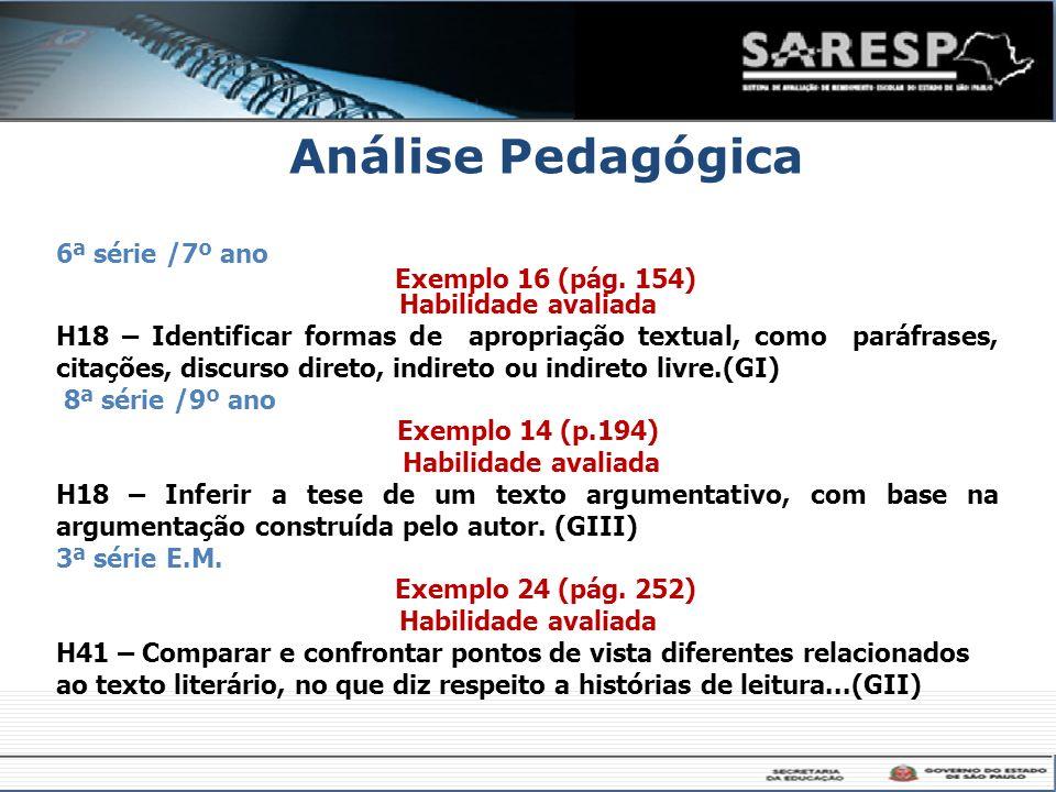 Análise Pedagógica 6ª série /7º ano Exemplo 16 (pág. 154)