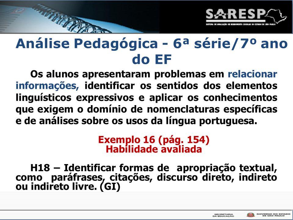 Análise Pedagógica - 6ª série/7º ano do EF