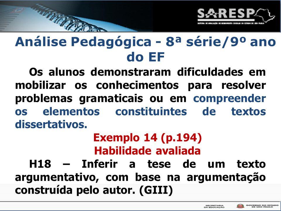 Análise Pedagógica - 8ª série/9º ano do EF
