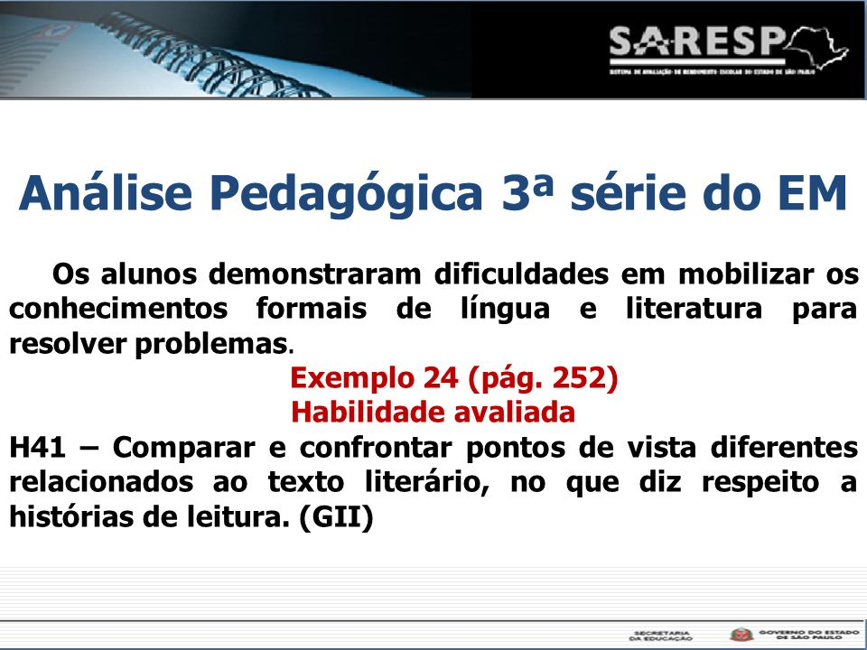 Análise Pedagógica 3ª série do EM