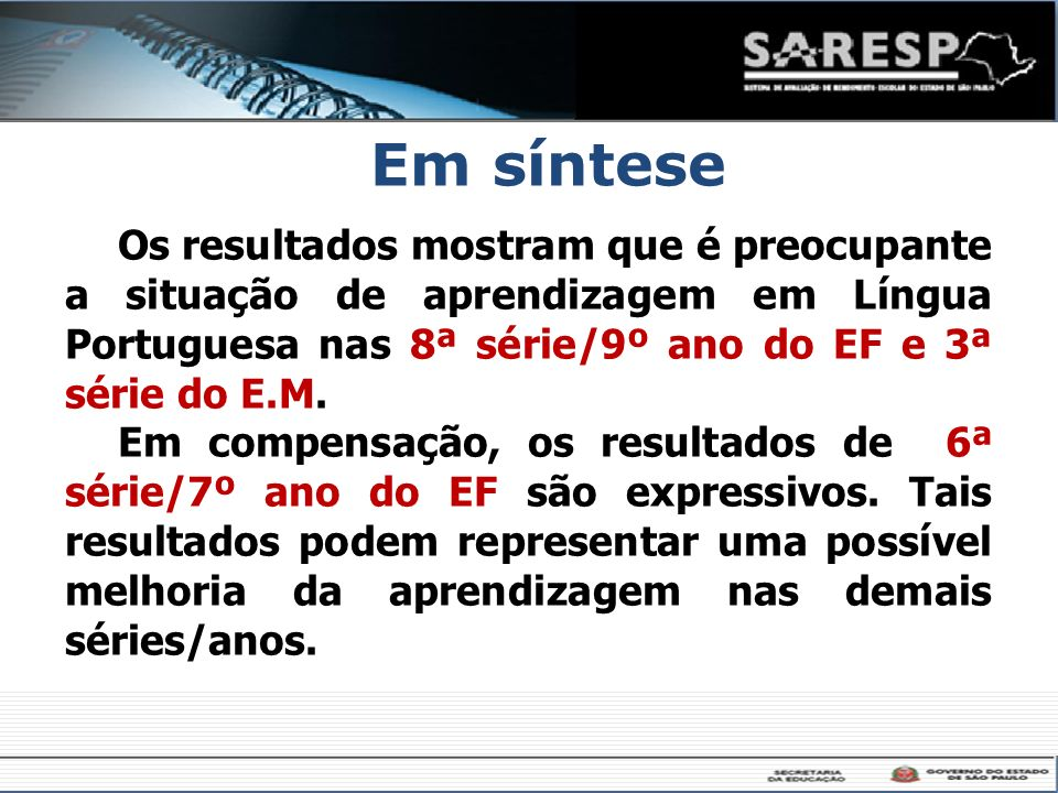 Em sínteseOs resultados mostram que é preocupante a situação de aprendizagem em Língua Portuguesa nas 8ª série/9º ano do EF e 3ª série do E.M.