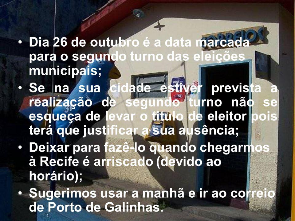Dia 26 de outubro é a data marcada para o segundo turno das eleições municipais;