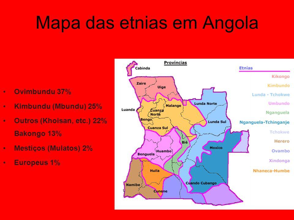 Mapa das etnias em Angola