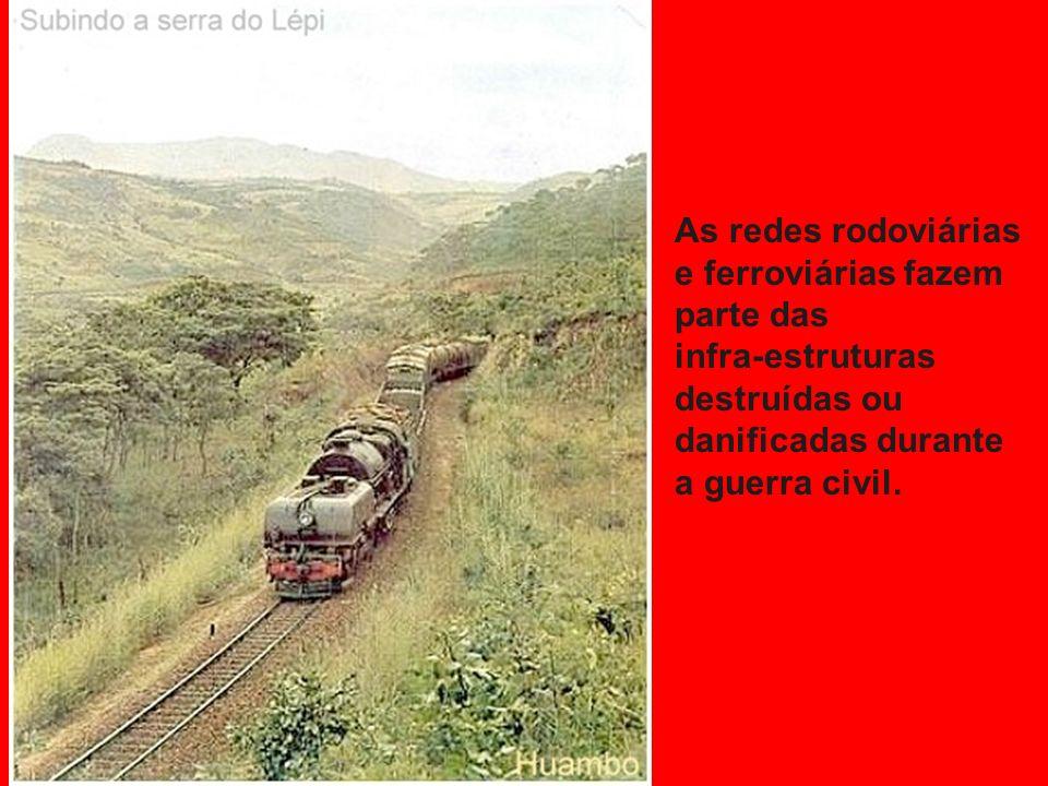 As redes rodoviárias e ferroviárias fazem. parte das. infra-estruturas. destruídas ou. danificadas durante.