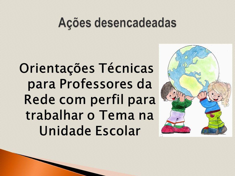 Ações desencadeadas Orientações Técnicas para Professores da Rede com perfil para trabalhar o Tema na Unidade Escolar.