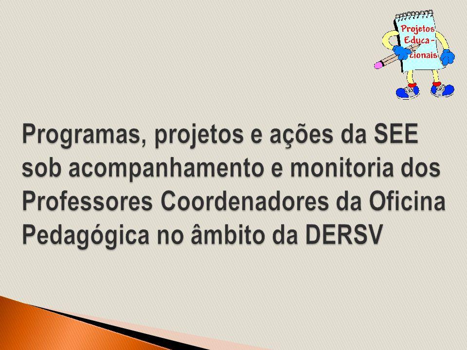 Programas, projetos e ações da SEE sob acompanhamento e monitoria dos Professores Coordenadores da Oficina Pedagógica no âmbito da DERSV