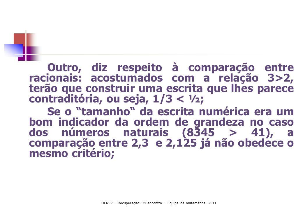 DERSV – Recuperação: 2º encontro - Equipe de matemática -2011