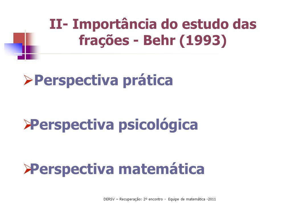 II- Importância do estudo das frações - Behr (1993)