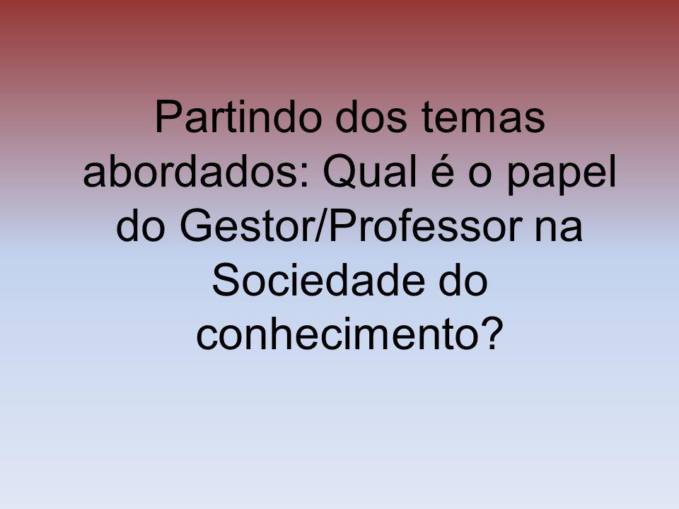 Partindo dos temas abordados: Qual é o papel do Gestor/Professor na Sociedade do conhecimento