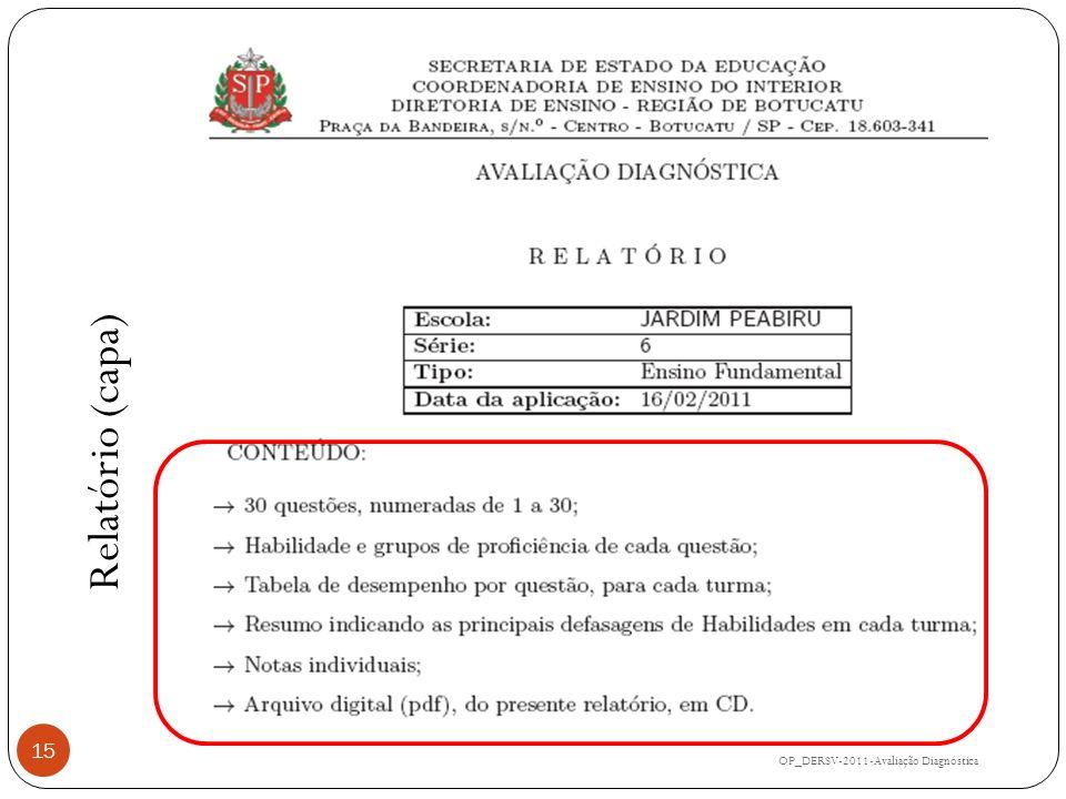 Relatório (capa) OP_DERSV-2011-Avaliação Diagnóstica