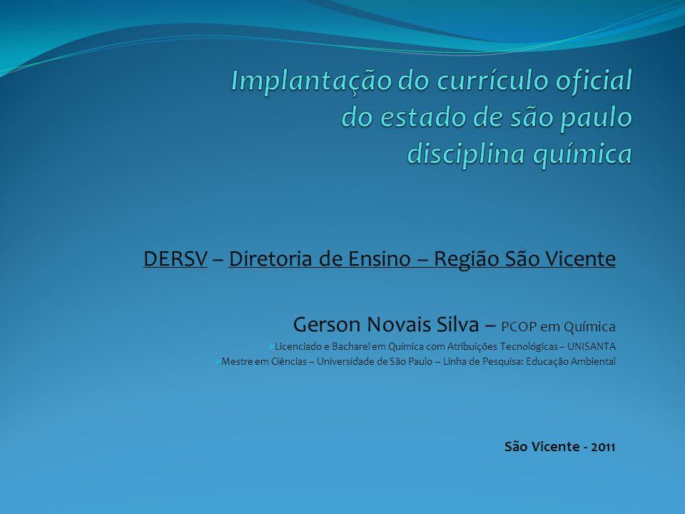 Implantação do currículo oficial do estado de são paulo disciplina química