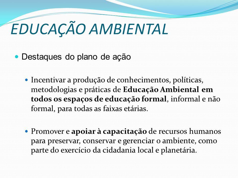 EDUCAÇÃO AMBIENTAL Destaques do plano de ação