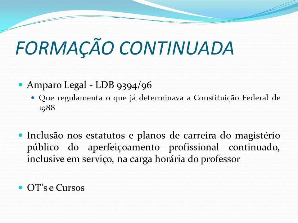 FORMAÇÃO CONTINUADA Amparo Legal - LDB 9394/96