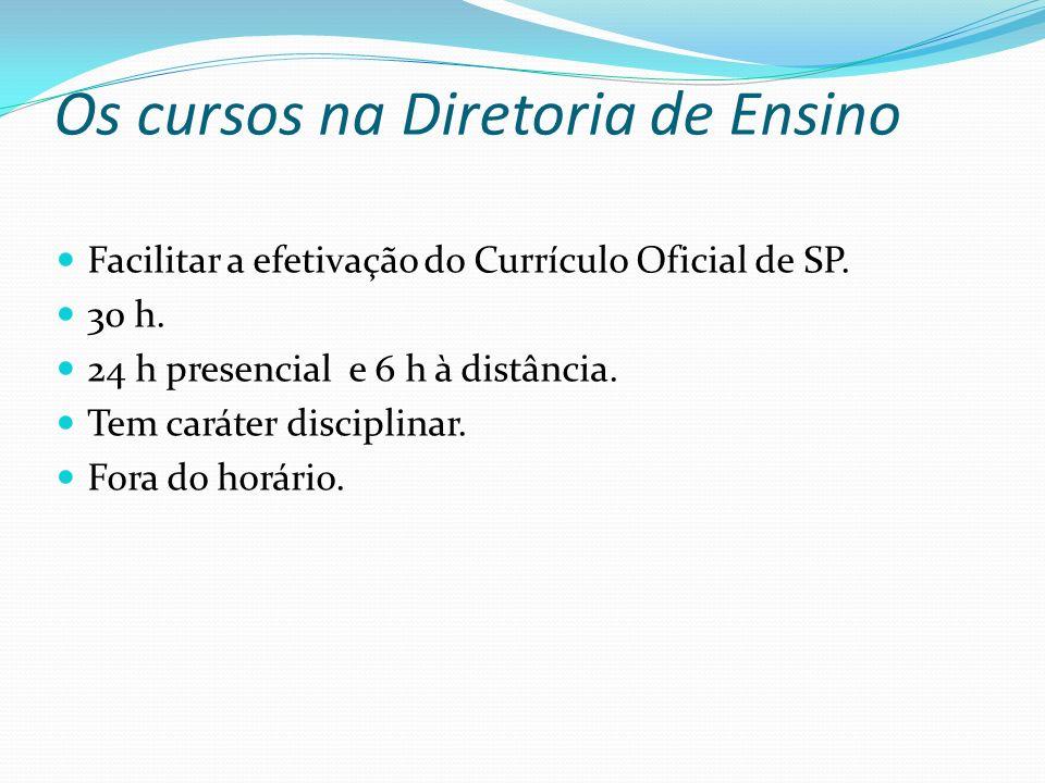 Os cursos na Diretoria de Ensino