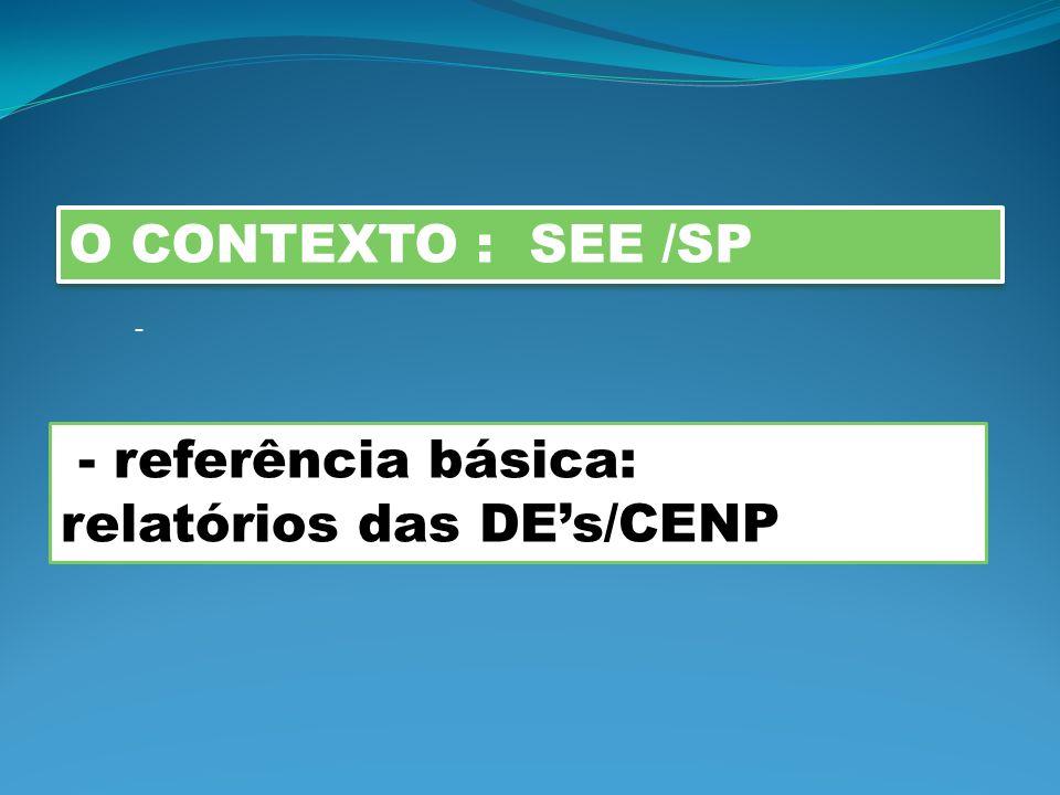 relatórios das DE's/CENP