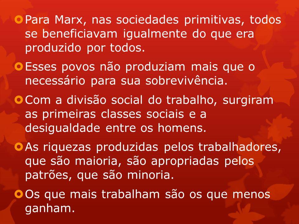 Para Marx, nas sociedades primitivas, todos se beneficiavam igualmente do que era produzido por todos.