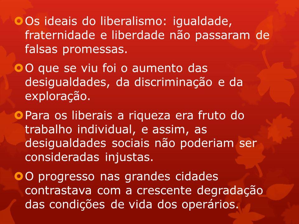 Os ideais do liberalismo: igualdade, fraternidade e liberdade não passaram de falsas promessas.