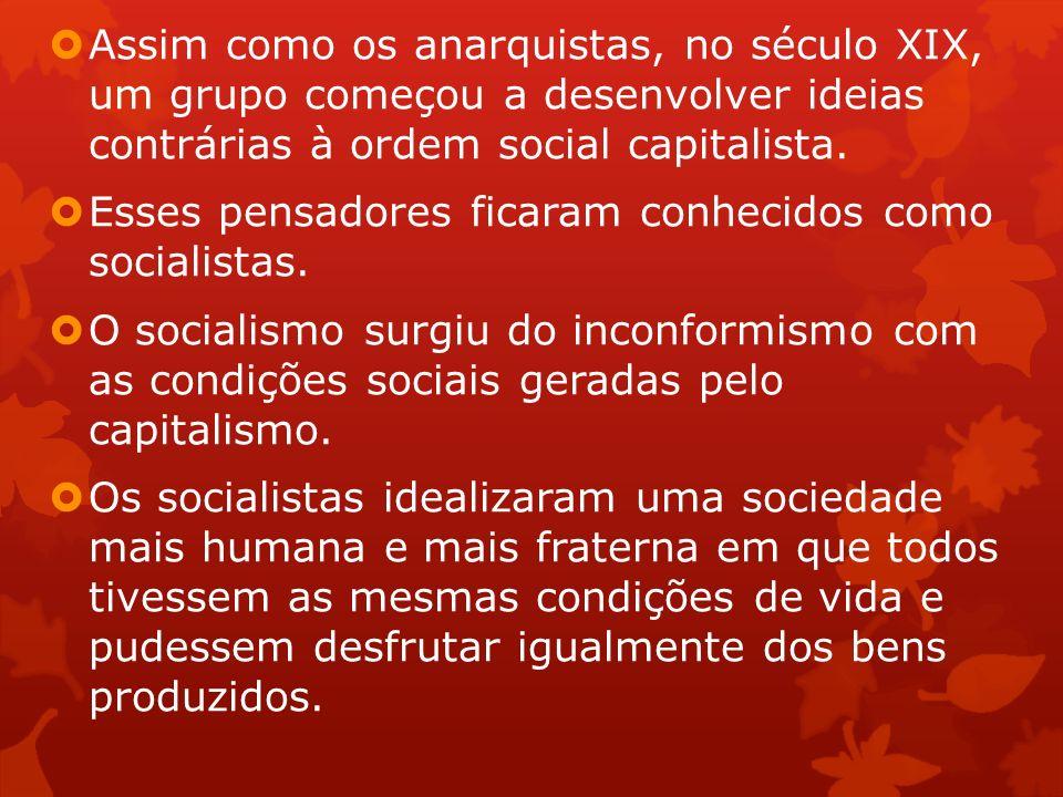 Assim como os anarquistas, no século XIX, um grupo começou a desenvolver ideias contrárias à ordem social capitalista.