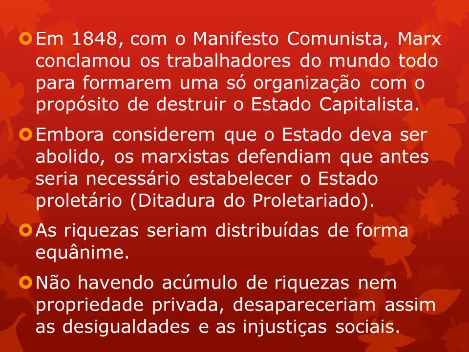 Em 1848, com o Manifesto Comunista, Marx conclamou os trabalhadores do mundo todo para formarem uma só organização com o propósito de destruir o Estado Capitalista.