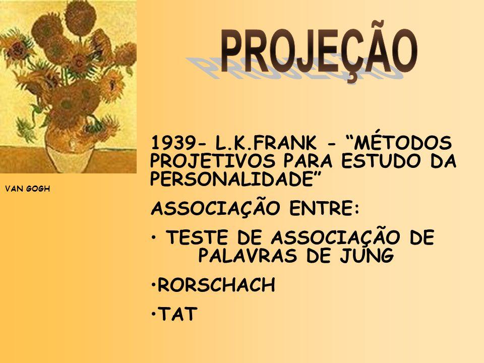 PROJEÇÃO 1939- L.K.FRANK - MÉTODOS PROJETIVOS PARA ESTUDO DA PERSONALIDADE ASSOCIAÇÃO ENTRE: TESTE DE ASSOCIAÇÃO DE PALAVRAS DE JUNG.