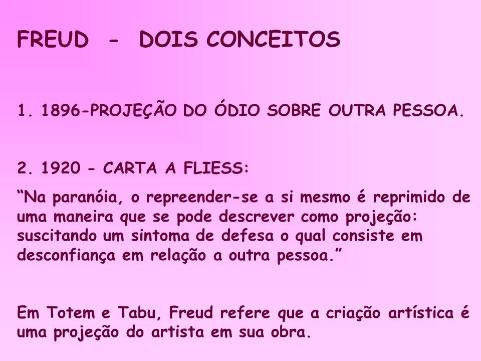 FREUD - DOIS CONCEITOS 1. 1896-PROJEÇÃO DO ÓDIO SOBRE OUTRA PESSOA.