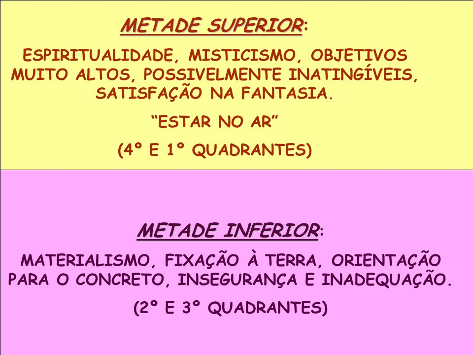 METADE SUPERIOR: METADE INFERIOR: