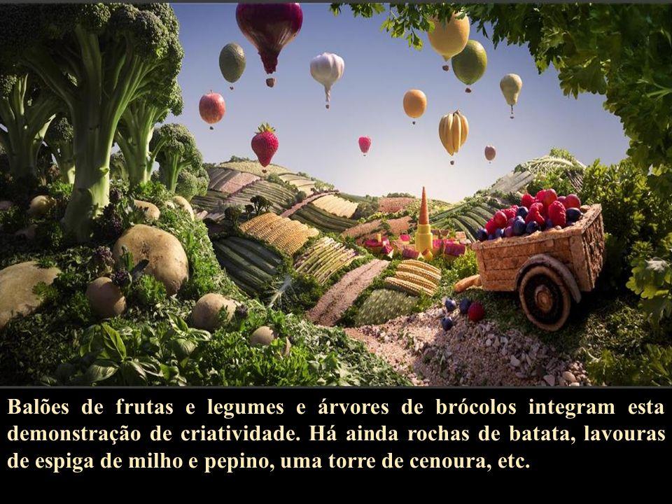 Balões de frutas e legumes e árvores de brócolos integram esta demonstração de criatividade.