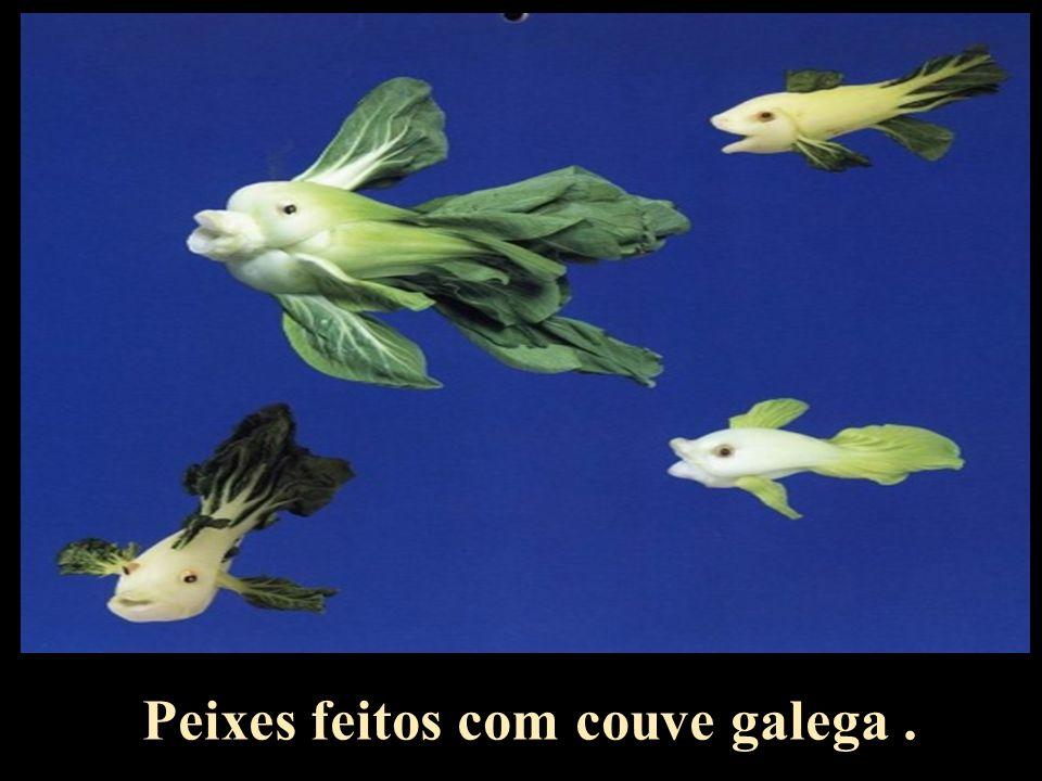 Peixes feitos com couve galega .