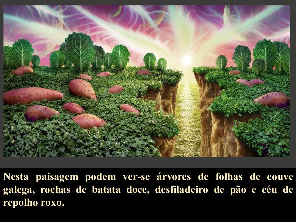Nesta paisagem podem ver-se árvores de folhas de couve galega, rochas de batata doce, desfiladeiro de pão e céu de repolho roxo.