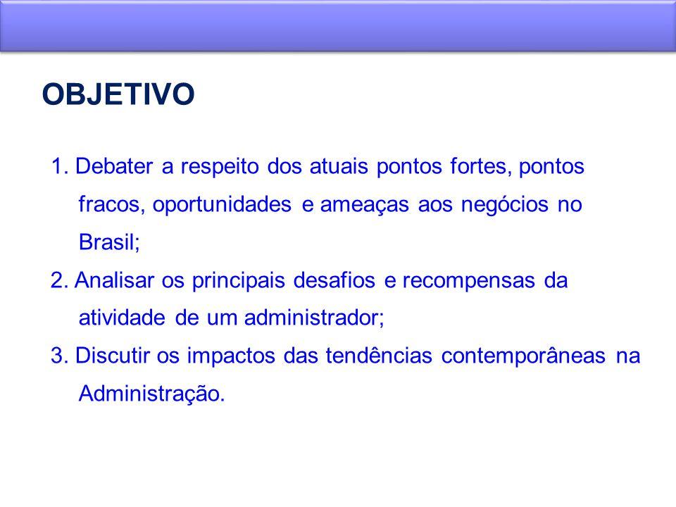 OBJETIVO 1. Debater a respeito dos atuais pontos fortes, pontos fracos, oportunidades e ameaças aos negócios no Brasil;