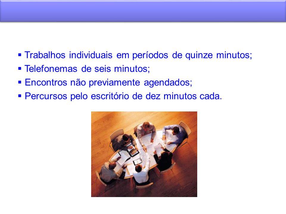 Trabalhos individuais em períodos de quinze minutos;