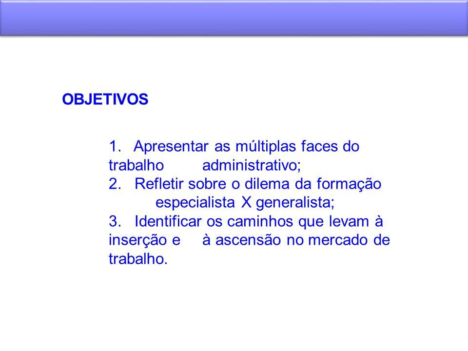 OBJETIVOS 1. Apresentar as múltiplas faces do trabalho administrativo; 2. Refletir sobre o dilema da formação especialista X generalista;