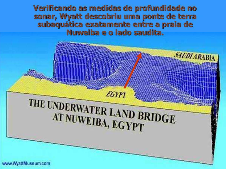 Verificando as medidas de profundidade no sonar, Wyatt descobriu uma ponte de terra subaquática exatamente entre a praia de Nuweiba e o lado saudita.