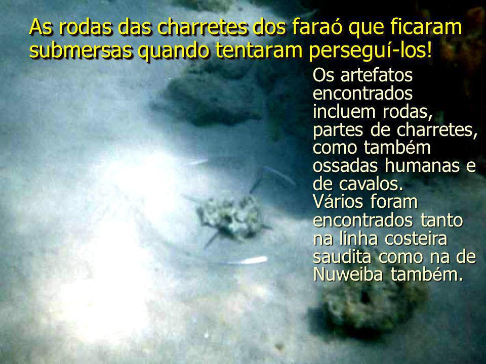As rodas das charretes dos faraó que ficaram submersas quando tentaram perseguí-los!