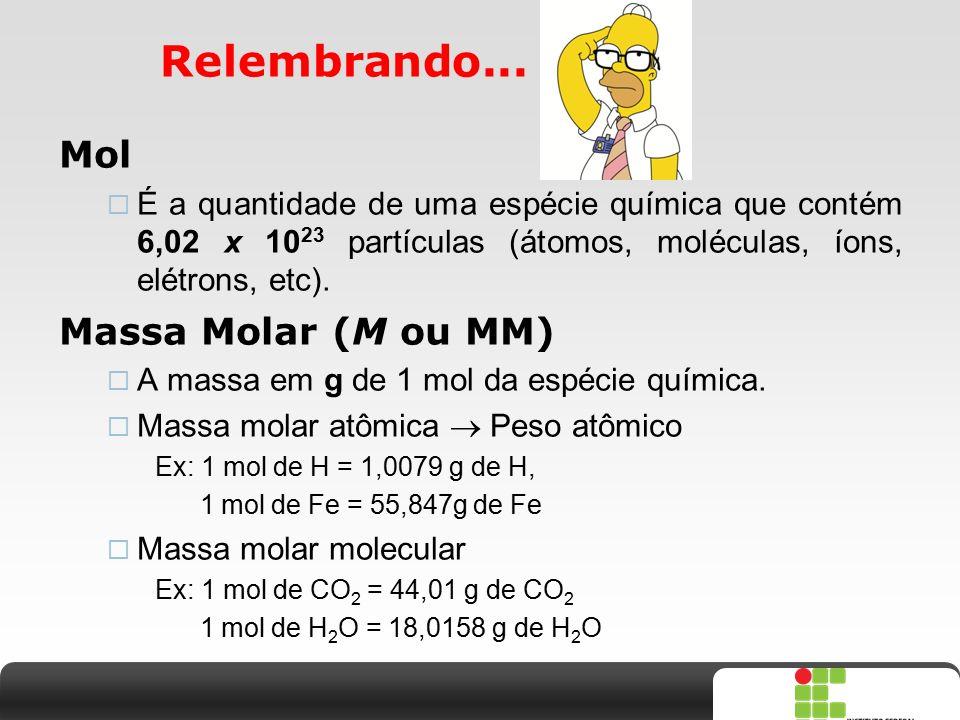 Relembrando... Mol Massa Molar (M ou MM)