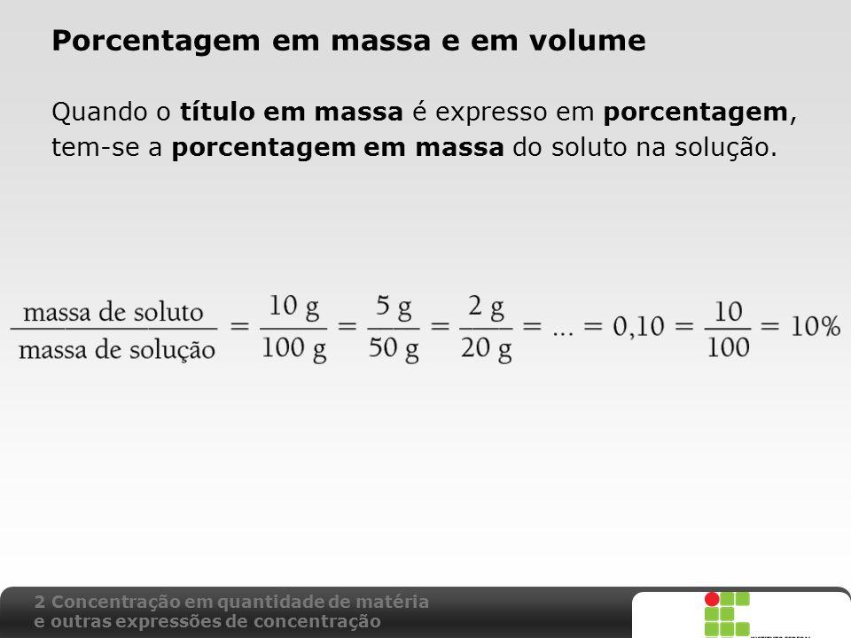 Porcentagem em massa e em volume